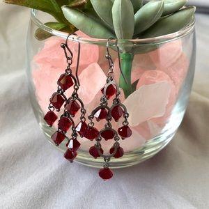 Red Beaded Chandelier Earrings